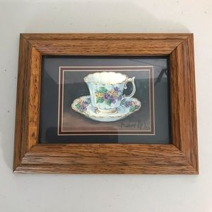 Country Oak Tea Cup Wall Picture 9x8